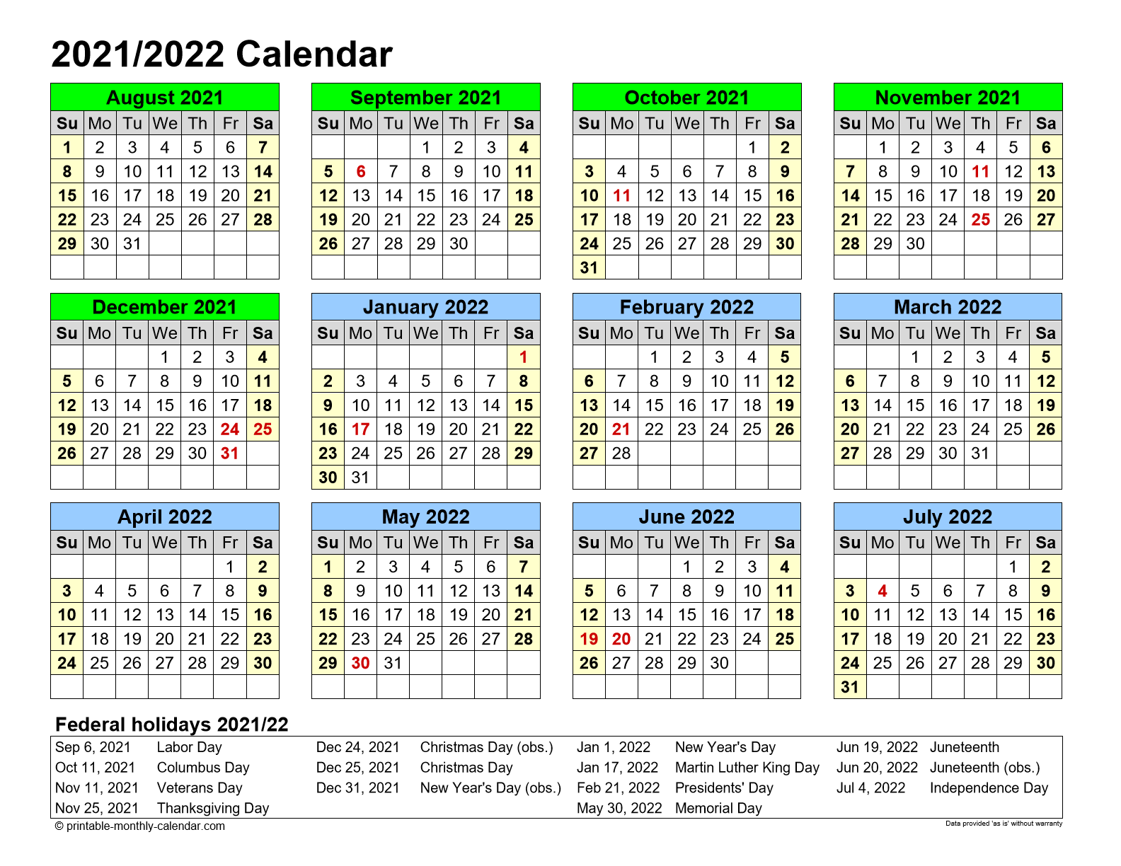 August 2021 July 2022 2 Page Monthly Calendar Printable
