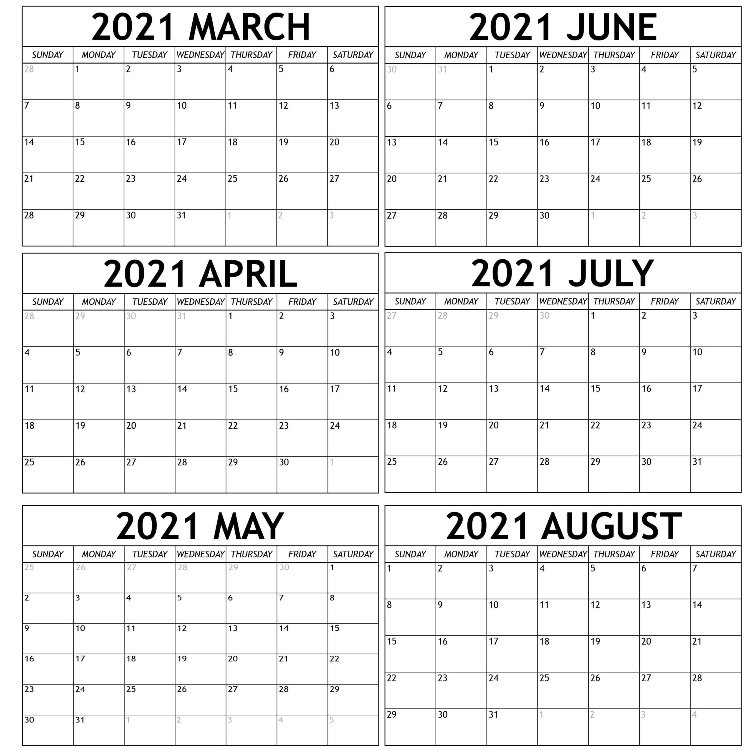 Extra Large Printable 6th Month Calendar March August 2021