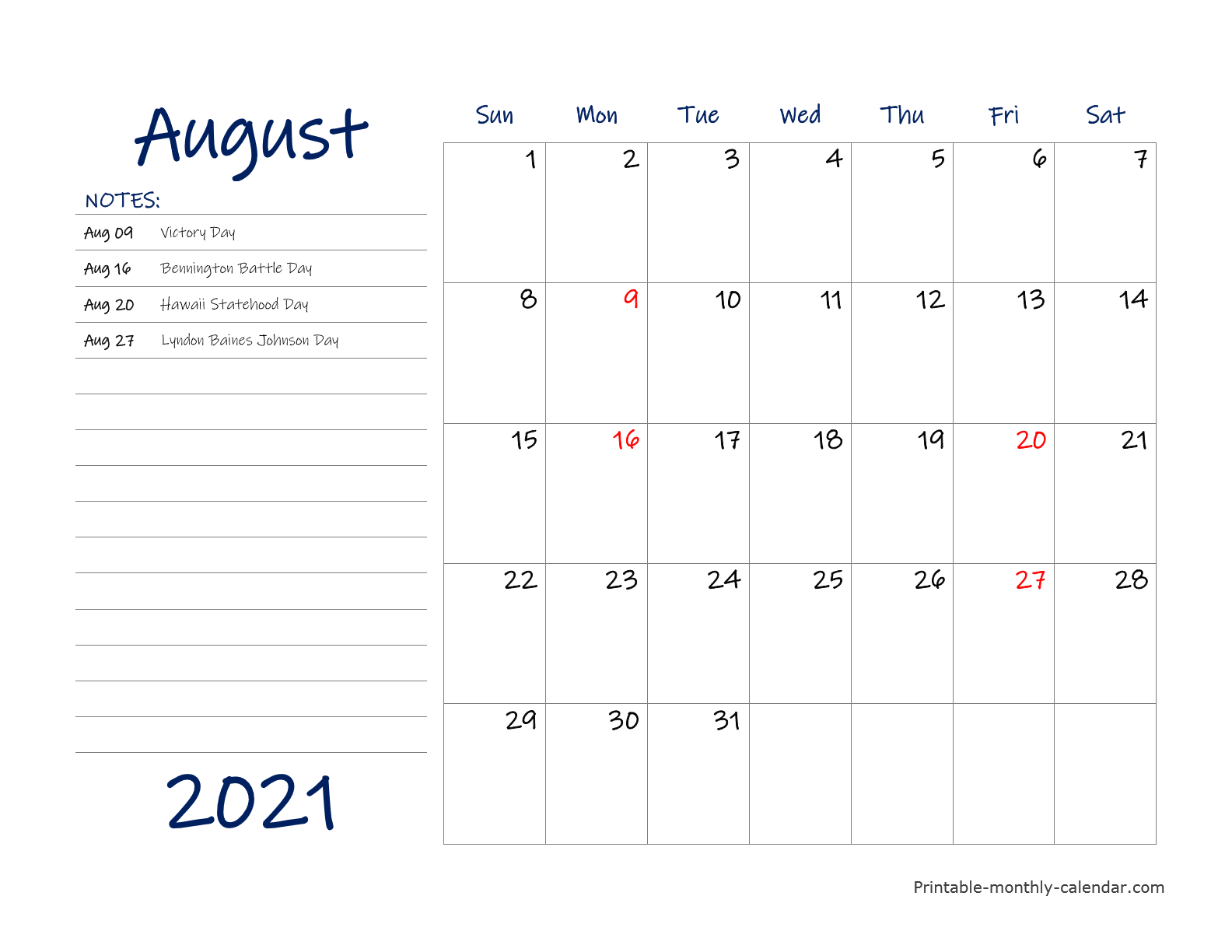 Free Printable August 2021 Monthly Calendar No Chrome Extensions