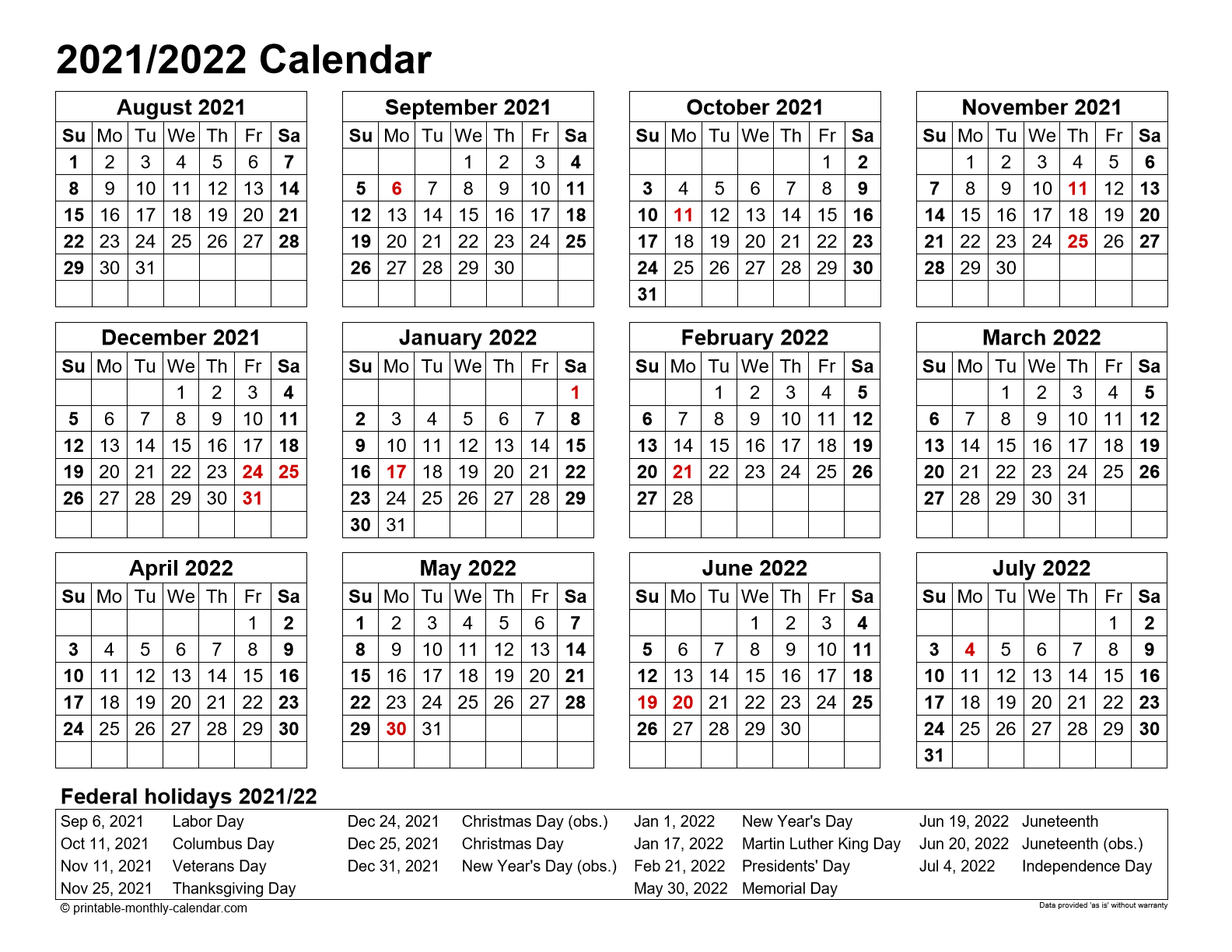 Free Printable Monthly Calendar August 2021 To July 2022