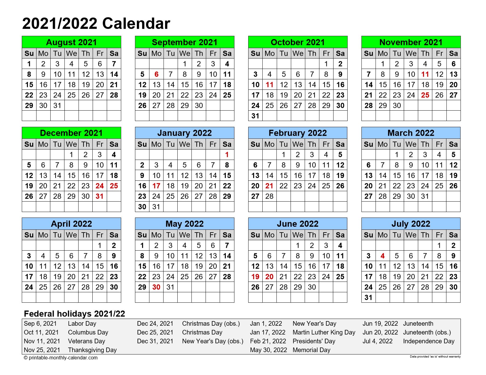 Printable 12 Month Calendar For August 2021 To July 2022