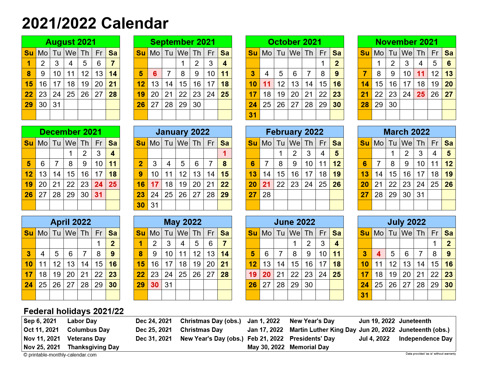 Printable Monthly Calendar August 2021 To June 2022