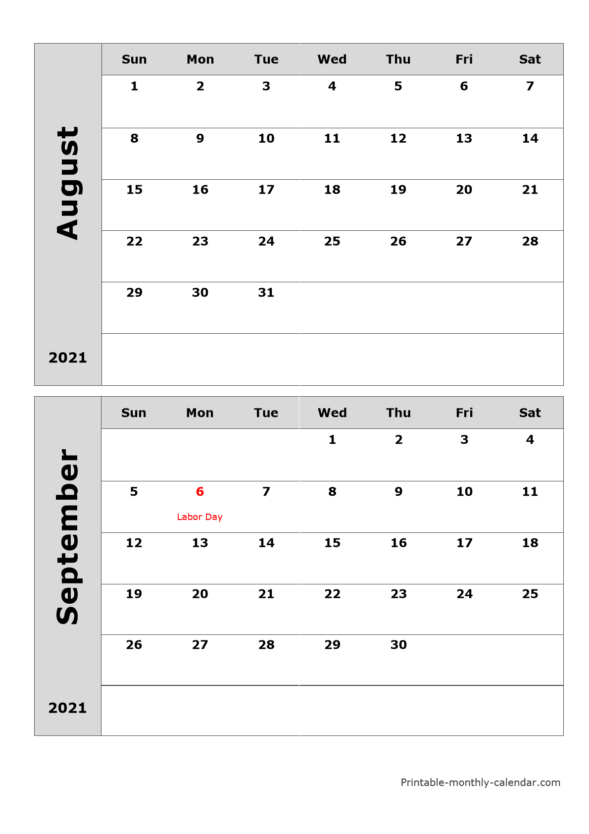 Printable Monthly Calendar August And September 2021