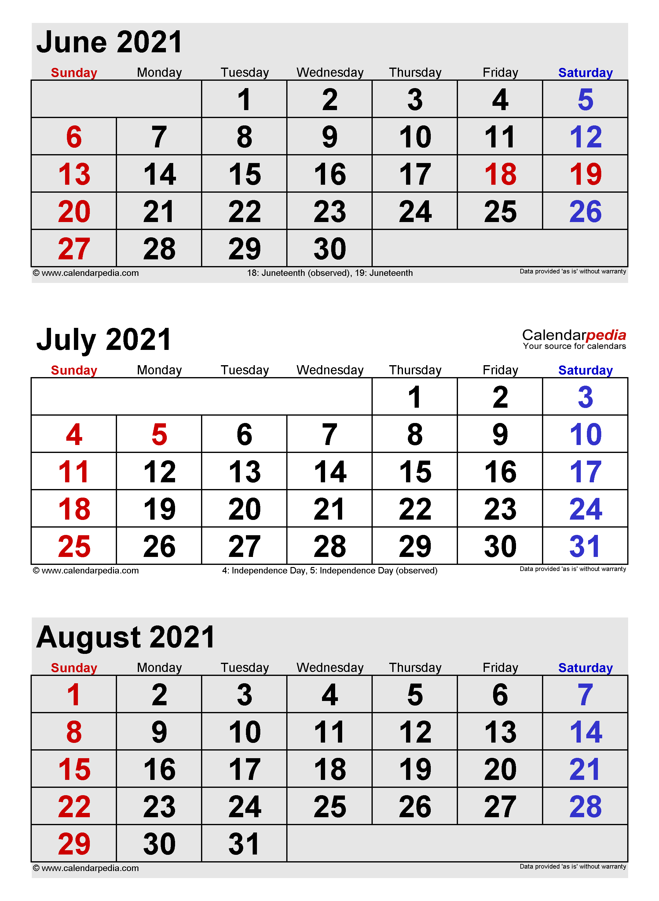 July 2021 Calendar Templates For Word Excel And PDF