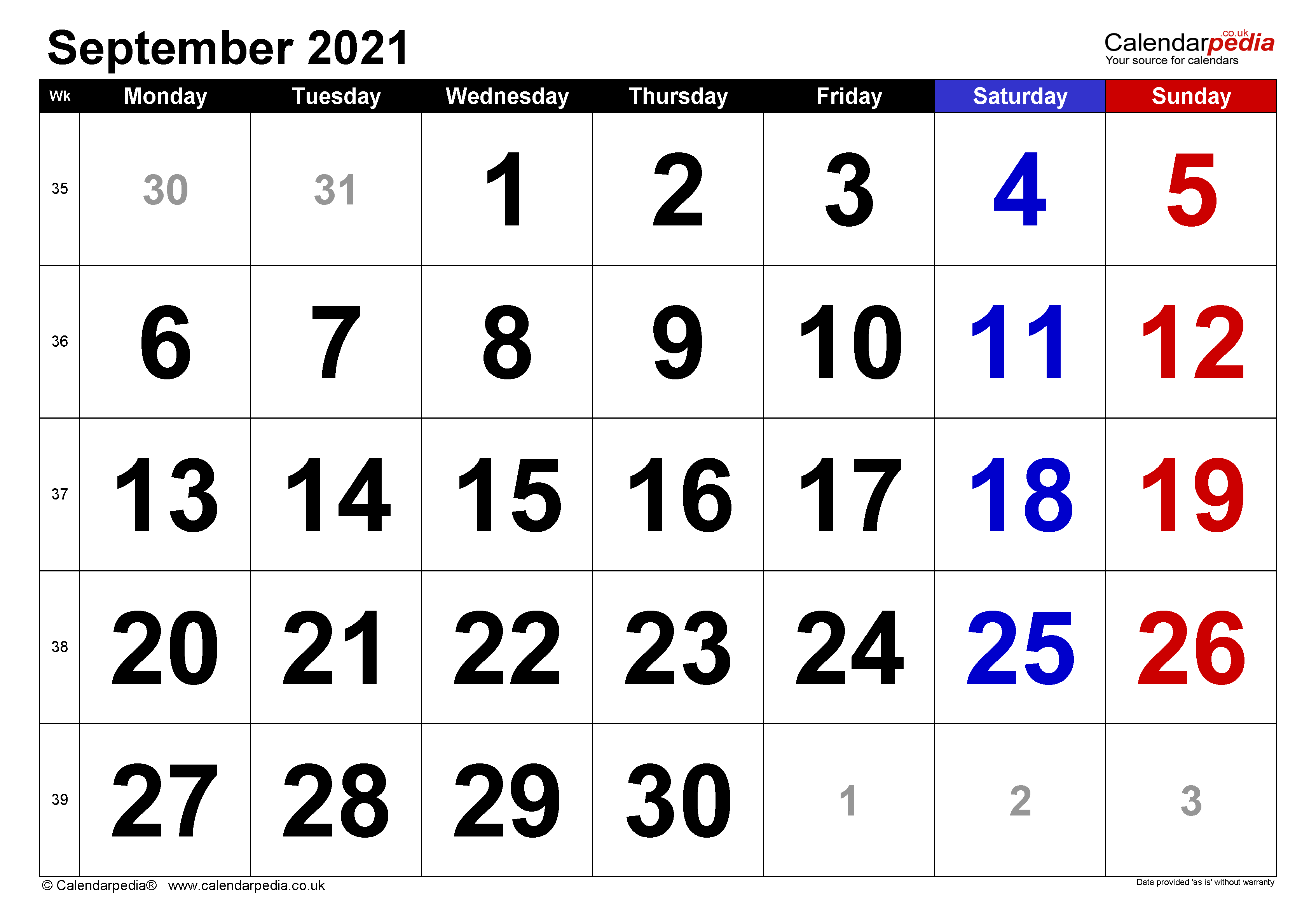 Calendar September 2021 UK With Excel Word And PDF Templates
