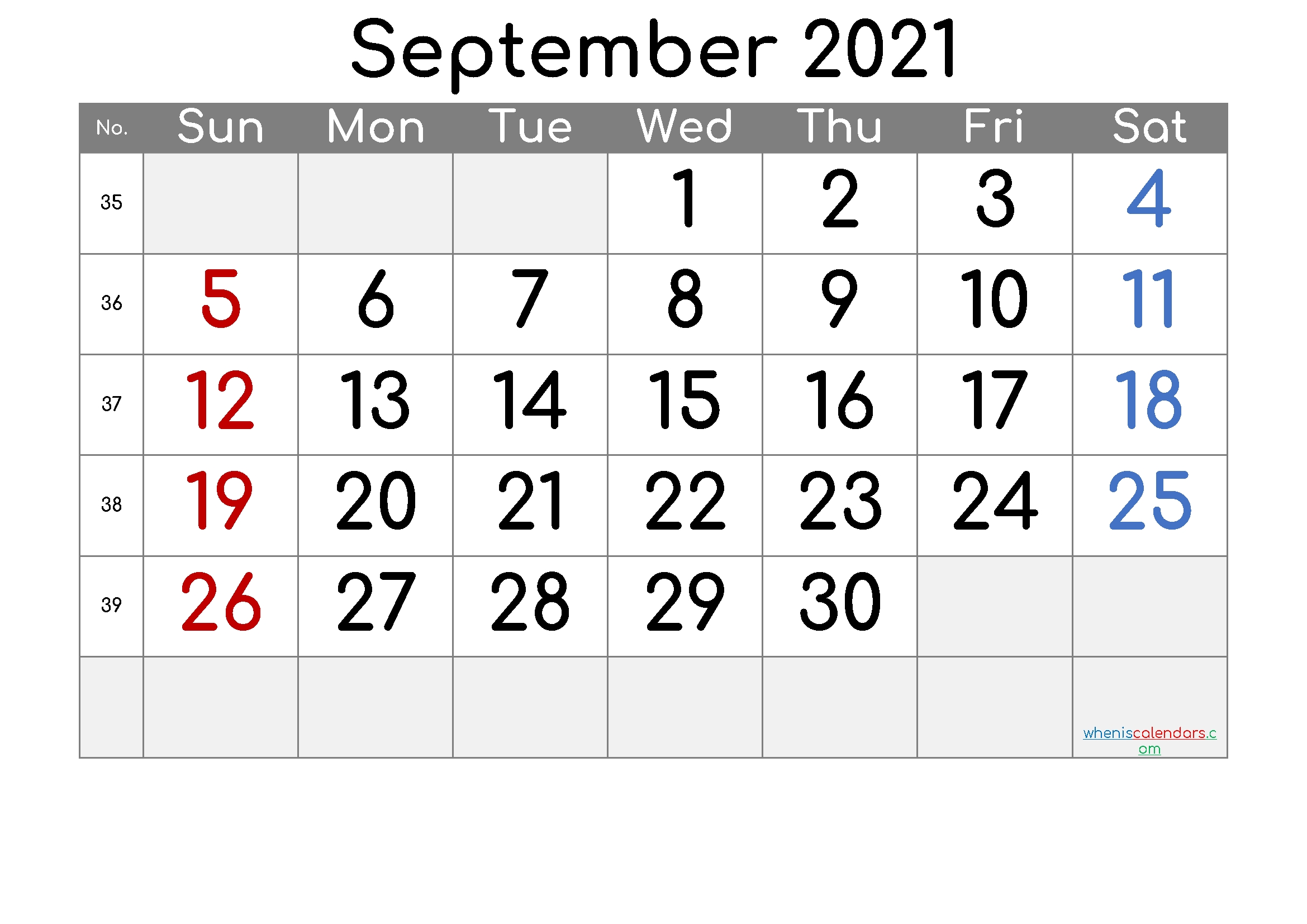 Print Free September 2021 Calendar Without Downloading