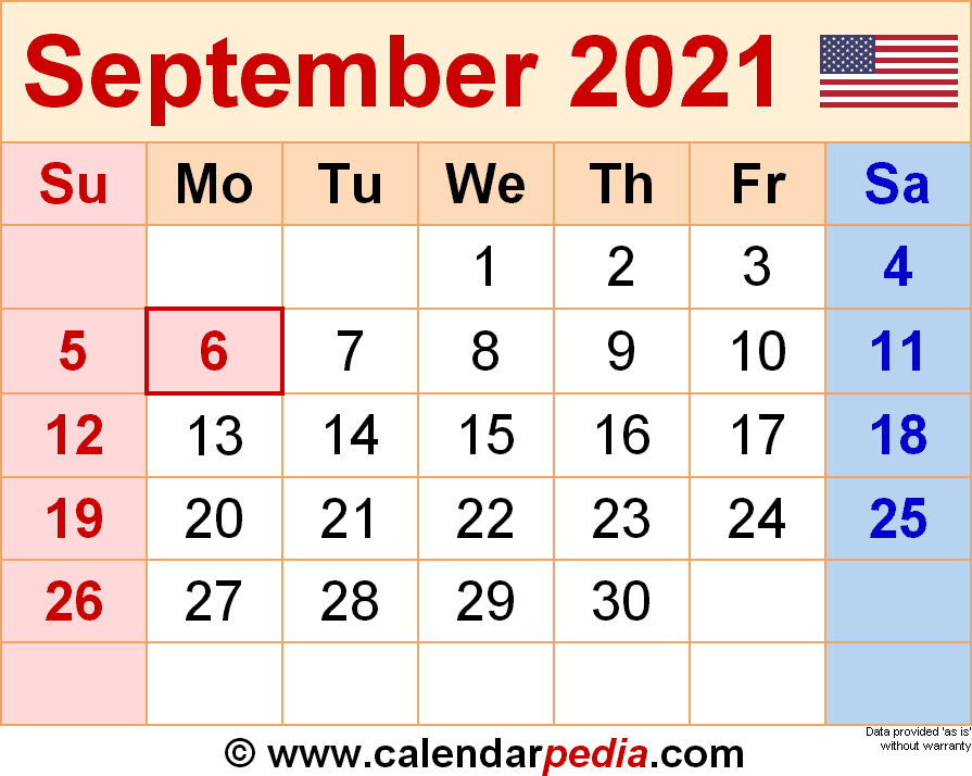 September 2021 Calendar Templates For Word Excel And PDF