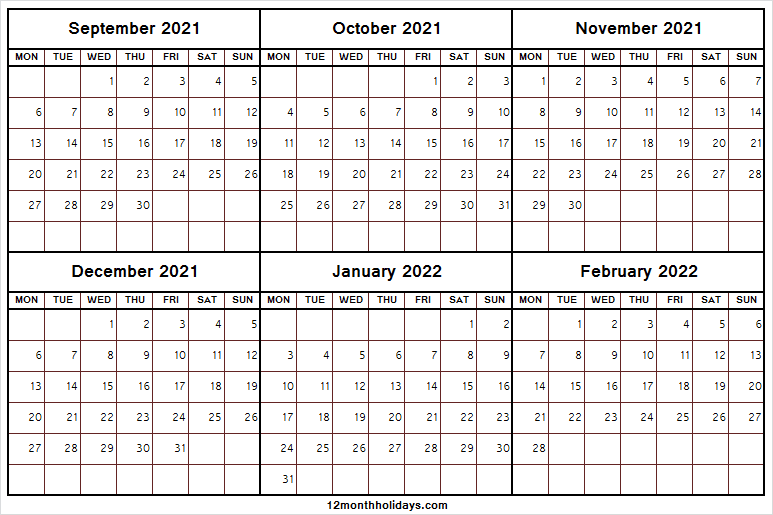 September 2021 To February 2022 Calendar With Notes Tumblr