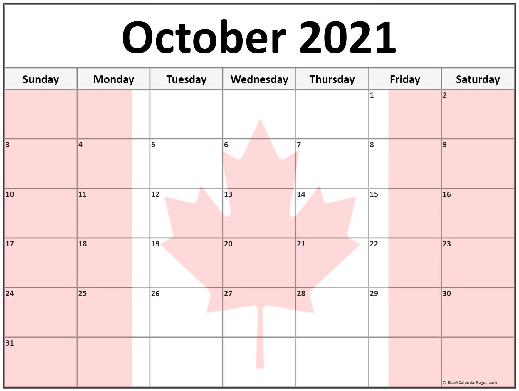 Collection Of October 2021 Photo Calendars With Image Filters