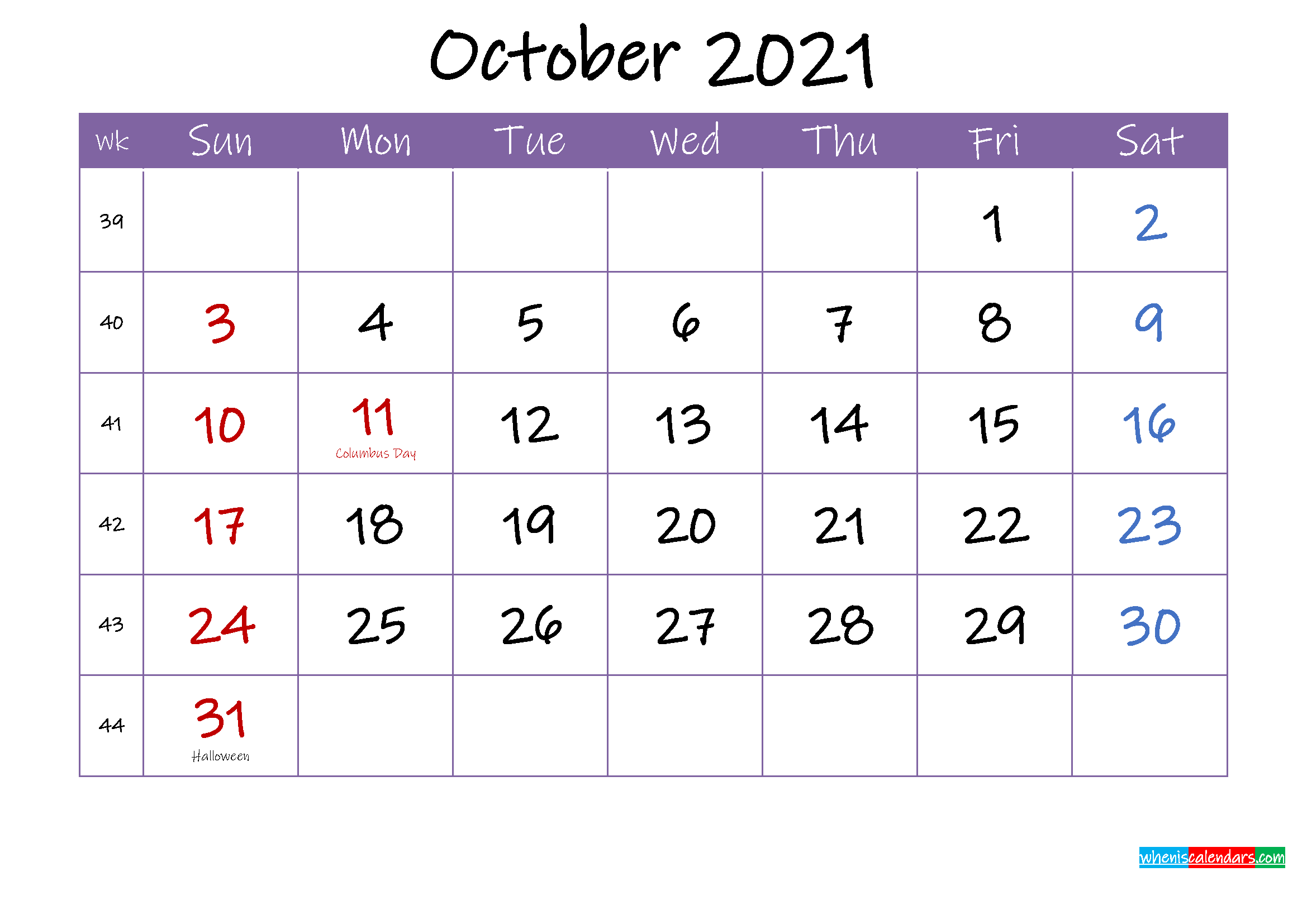 October 2021 Calendar With Holidays Printable Template