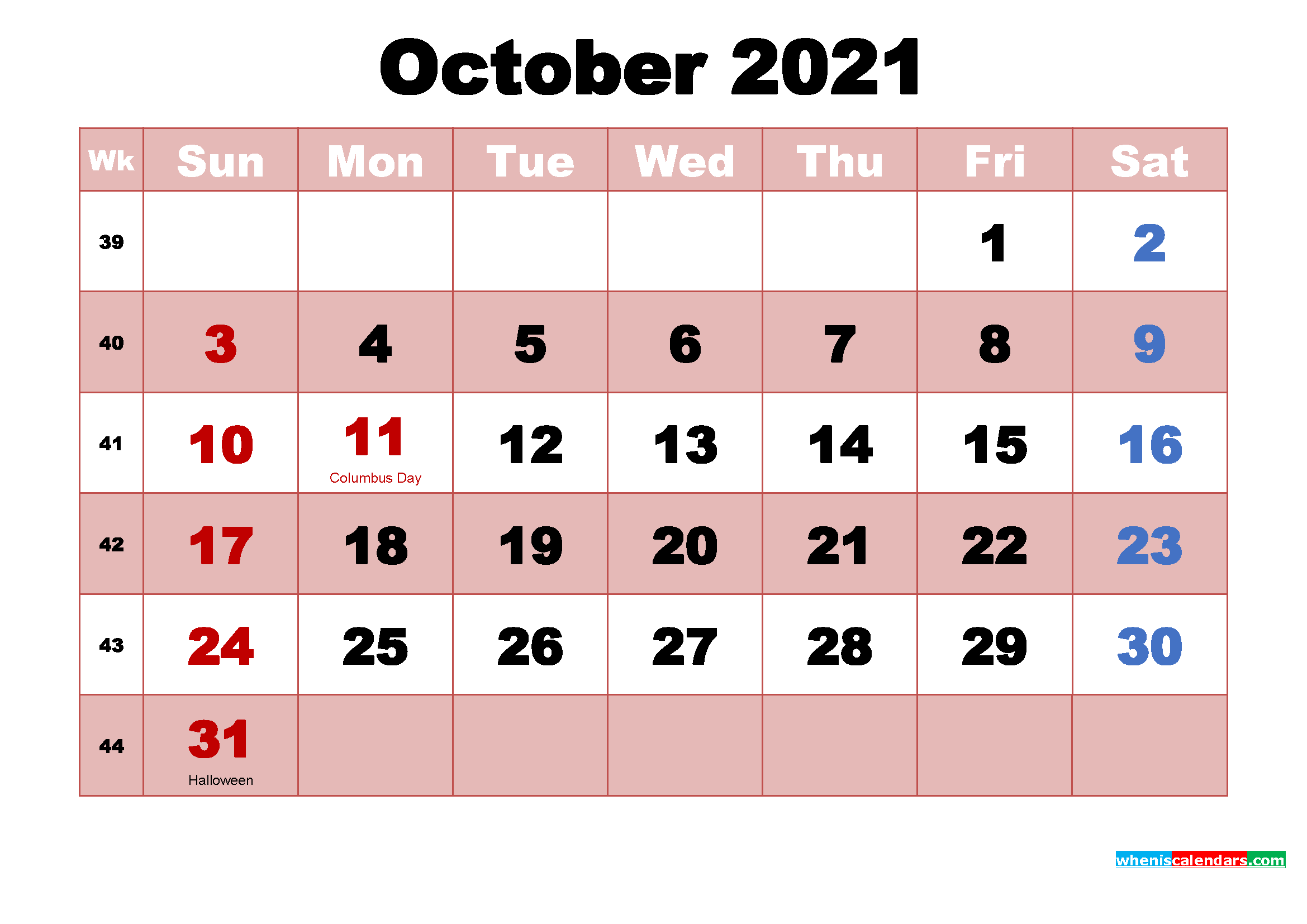 October 2021 Printable Monthly Calendar With Holidays